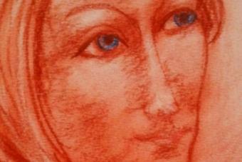 2013 Die Dame mit der roten Halskette Pastell 15x21cm
