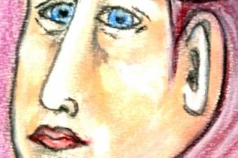 2013 Frau mit Helm Pastell 15x21cm