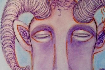 2018 Hoerender lila Widder Pastell auf Papier 50x70cm
