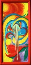 2003 Traenenwaesserung der Blume Tempera auf Holz 31x67cm