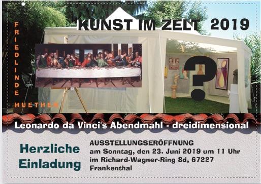 Zum Event Kunst im Zelt 2019 eigens entworfene Einladungskarte